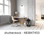 little desk and chair in... | Shutterstock . vector #483847453