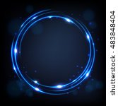 round blue shiny with sparks... | Shutterstock .eps vector #483848404