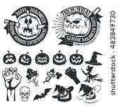 halloween set of elements and... | Shutterstock .eps vector #483849730