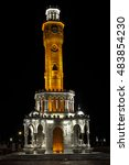 Small photo of Izmir Clock Tower at night from Izmir, Turkey