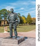 Small photo of MONTGOMERY, ALABAMA - OCTOBER 29, 2015: 1LT Karl W. Richter Statue Picture of a dedication statue of Vietnam KIA hero, Karl W. Richter on display at Maxwell AFB.