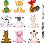 cartoon funny farm animals | Shutterstock .eps vector #483873769