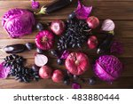 purple fruits and vegetables on ... | Shutterstock . vector #483880444