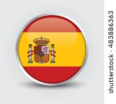 flag of spain glossy button | Shutterstock .eps vector #483886363