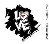 """love"" text doodles | Shutterstock .eps vector #483887740"
