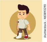 man sad with broken leg | Shutterstock .eps vector #483893290
