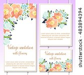 invitation with floral... | Shutterstock . vector #483894394