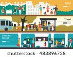 rome travel time to travel flat ... | Shutterstock .eps vector #483896728
