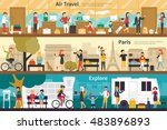 air travel paris explore flat... | Shutterstock .eps vector #483896893