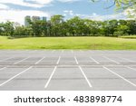 empty parking lot against green ... | Shutterstock . vector #483898774