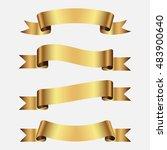 set of golden ribbons | Shutterstock .eps vector #483900640