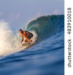 picture of surfing a wave... | Shutterstock . vector #483910018