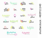 set of hand drawn logos with... | Shutterstock .eps vector #483911140