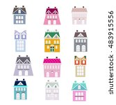 collection of candy houses made ... | Shutterstock .eps vector #483915556