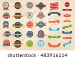 set of vintage labels  ribbons  ... | Shutterstock .eps vector #483916114