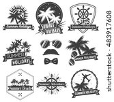 set of summer season labels in... | Shutterstock . vector #483917608