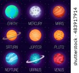 set of solar system planets in... | Shutterstock . vector #483917914