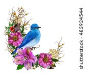 blue bird  weaving branches... | Shutterstock . vector #483924544