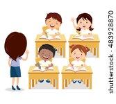 school lesson. teacher and... | Shutterstock .eps vector #483928870