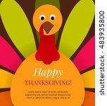 cute colorful cartoon turkey... | Shutterstock .eps vector #483935800