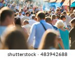 crowd of people walking on the... | Shutterstock . vector #483942688