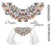 neck print  floral design.... | Shutterstock . vector #483949009