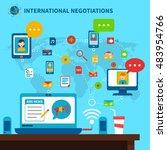 international negotiations... | Shutterstock . vector #483954766