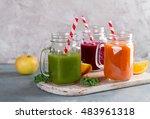 fresh fruit and vegetable juice ...   Shutterstock . vector #483961318