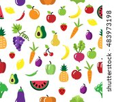 seamless vector fruit and... | Shutterstock .eps vector #483973198
