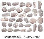 set of pebbles isolated on...   Shutterstock . vector #483973780