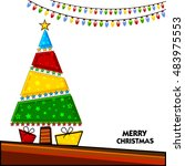 creative colorful xmas tree on... | Shutterstock .eps vector #483975553