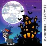 halloween grey kitten wearing... | Shutterstock .eps vector #483979459