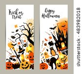 halloween banners set on white... | Shutterstock .eps vector #483982018