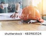 double exposure of building... | Shutterstock . vector #483983524