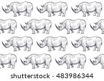 old engraving rhinoceros.... | Shutterstock .eps vector #483986344