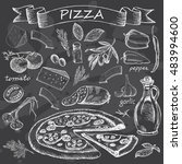 pizza with set of ingredients... | Shutterstock . vector #483994600