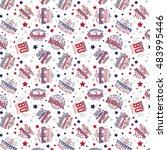 baseball theme vector seamless... | Shutterstock .eps vector #483995446