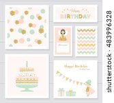 cute cards with gold confetti... | Shutterstock .eps vector #483996328