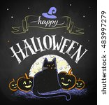 vector color chalk drawing of... | Shutterstock .eps vector #483997279