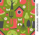 garden pattern seamless.... | Shutterstock .eps vector #483999490