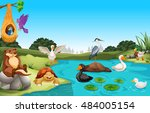 many animals living by the pond ... | Shutterstock .eps vector #484005154