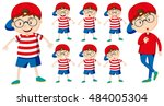 boy with different emotions... | Shutterstock .eps vector #484005304