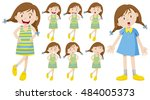 girl with different emotions... | Shutterstock .eps vector #484005373