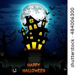 halloween night background.... | Shutterstock .eps vector #484006300