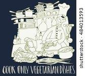 chef for cooking  vegetarian... | Shutterstock .eps vector #484013593