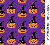 halloween seamless pattern.... | Shutterstock .eps vector #484024009