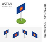 ASEAN flag (Association of Southeast Asian Nations), vector set of isometric flat icons, 3D style, different views. Editable design elements for banner, website, presentation, infographic, map. Eps 10