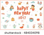 cute christmas card with angels ... | Shutterstock .eps vector #484034098