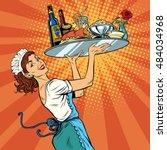 beautiful young woman waitress... | Shutterstock .eps vector #484034968