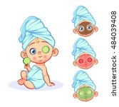 vector child gets a spa... | Shutterstock .eps vector #484039408